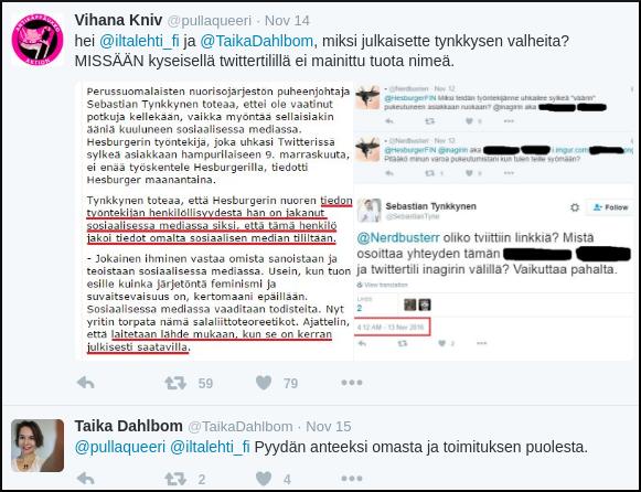 Kuva 3. Iltalehden toimittajan erikoinen anteeksipyyntö.
