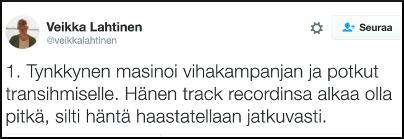 Kuva 2. Veikka Lahtinen levitti työntekijän arkaluontoisia tietoja sukupuolesta.