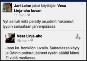 Kuva 5. Vesa Linja-Aho levitti valeuutista.
